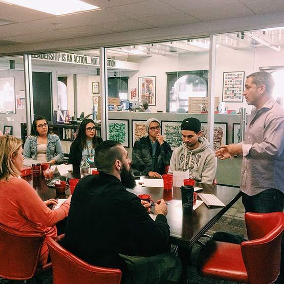 Les Kollegian teaches Art Institute students at Jacob Tyler